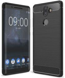 Nokia 8 Sirocco Geborsteld TPU Hoesje Zwart