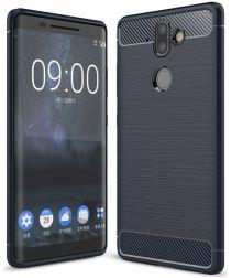 Nokia 8 Sirocco Geborsteld TPU Hoesje Blauw