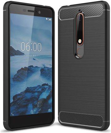Nokia 6 (2018) Geborsteld TPU Hoesje Zwart Hoesjes