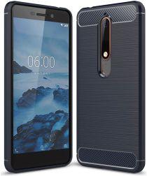 Nokia 6 (2018) Geborsteld TPU Hoesje Blauw