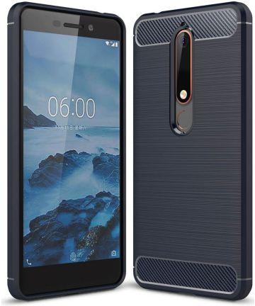 Nokia 6 (2018) Geborsteld TPU Hoesje Blauw Hoesjes
