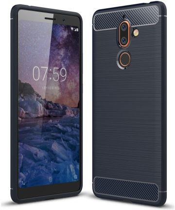 Nokia 7 Plus Geborsteld TPU Hoesje Blauw Hoesjes