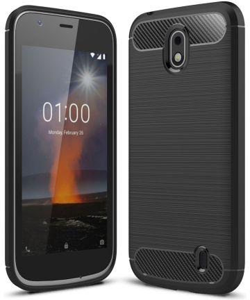 Nokia 1 Geborsteld TPU Hoesje Zwart