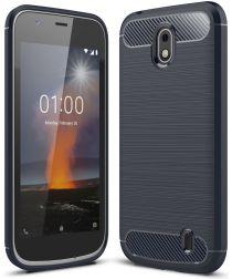 Nokia 1 Geborsteld TPU Hoesje Blue