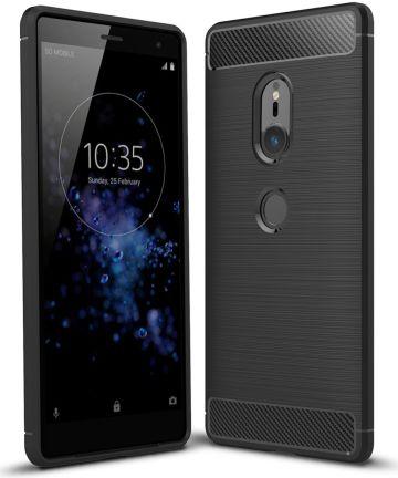 Sony Xperia XZ2 Geborsteld TPU Hoesje Zwart Hoesjes