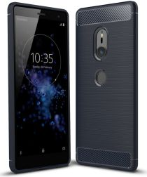 Sony Xperia XZ2 Geborsteld TPU Hoesje Blauw