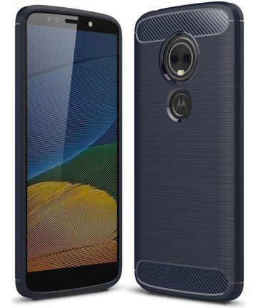 Motorola Moto E5 Geborsteld TPU Hoesje Blauw