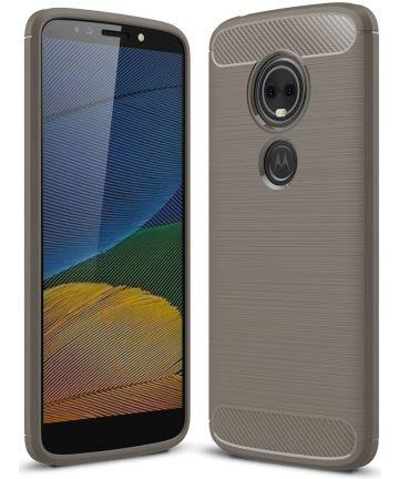 Motorola Moto E5 Geborsteld TPU Hoesje Grijs Hoesjes