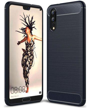 Huawei P20 Geborsteld TPU Hoesje Blauw