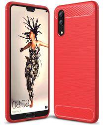 Huawei P20 Geborsteld TPU Hoesje Rood
