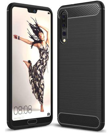 Huawei P20 Pro Geborsteld TPU Hoesje Zwart Hoesjes
