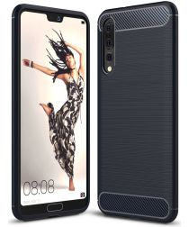 Huawei P20 Pro Geborsteld TPU Hoesje Blauw