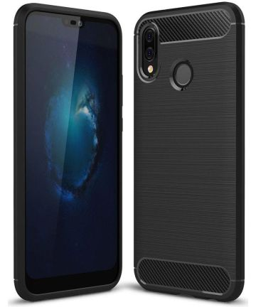 Huawei P20 Lite Geborsteld TPU Hoesje Zwart