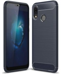 Huawei P20 Lite Geborsteld TPU Hoesje Blauw