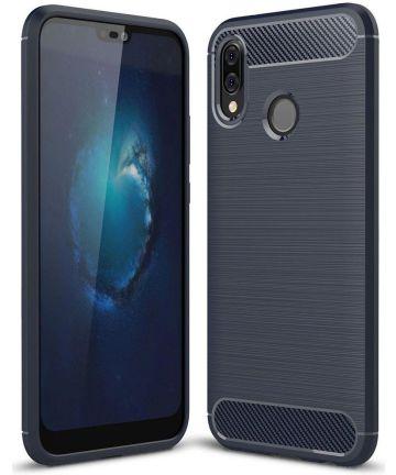 Huawei P20 Lite Geborsteld TPU Hoesje Blauw Hoesjes