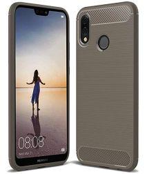 Huawei P20 Lite Geborsteld TPU Hoesje Grijs