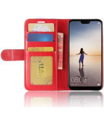 Huawei P20 Lite Hoesje met Kaarthouder Rood Hoesjes