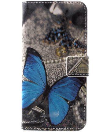 Huawei P20 Lite Portemonnee Hoesje met Print Blauwe Vlinder