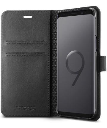 Spigen Wallet S Flip Hoesje Samsung Galaxy S9 Zwart