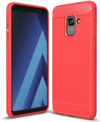 Samsung Galaxy A8 (2018) Geborsteld TPU Hoesje Rood