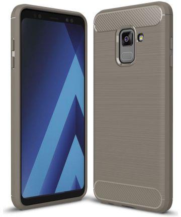 Samsung Galaxy A8 (2018) Geborsteld TPU Hoesje Grijs Hoesjes