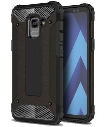 Samsung Galaxy A8 (2018) Robuust Hybride Hoesje Zwart