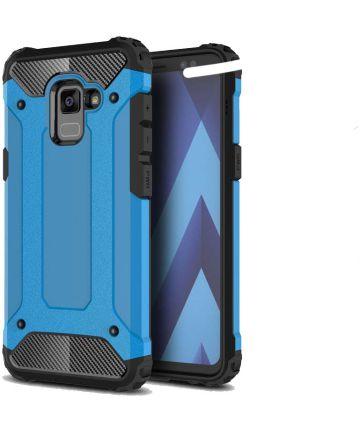 Samsung Galaxy A8 (2018) Robuust Hybride Hoesje Blauw Hoesjes