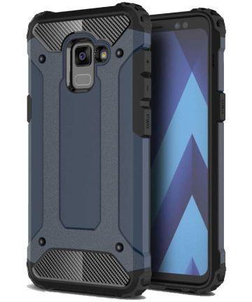 Samsung Galaxy A8 (2018) Hybride Hoesje Donker Blauw