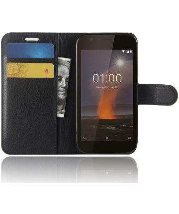 Nokia 1 Hoesje met Kaarthouder Zwart
