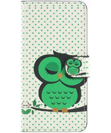Huawei P20 Portemonnee Hoesje met Slapende Uil Print