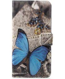 Huawei P20 Pro Portemonnee Hoesje Print Blauwe Vlinders