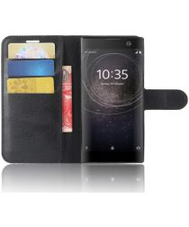 Sony Xperia XA2 Lychee Hoesje met Kaarthouder Zwart