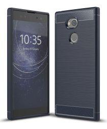 Sony Xperia XA2 Ultra Geborsteld TPU Hoesje Blauw