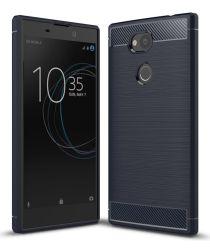 Sony Xperia L2 Geborsteld TPU Hoesje Blauw