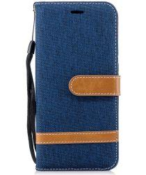 Huawei P20 Jeans Portemonnee Hoesje Donker Blauw