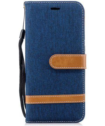 Huawei P20 Jeans Portemonnee Hoesje Donker Blauw Hoesjes