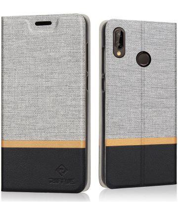 Huawei P20 Lite Linnen Textuur Flip Hoesje Grijs Hoesjes