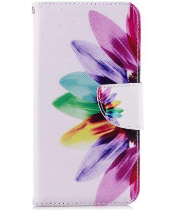Huawei P20 Lite Portemonnee Hoesje met Bloem Print Hoesjes