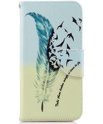 Huawei P20 Lite Portemonnee Hoesje met Feathers Print
