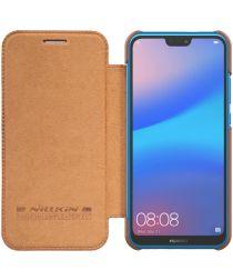 Nillkin Qin Series Flip Hoesje Huawei P20 Lite Bruin