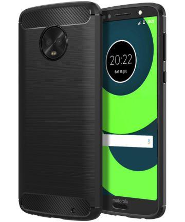 Motorola Moto G6 Plus Geborsteld TPU Hoesje Zwart Hoesjes