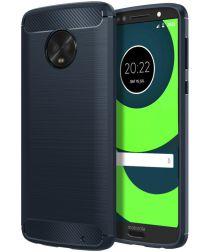 Motorola Moto G6 Plus Geborsteld TPU Hoesje Blauw