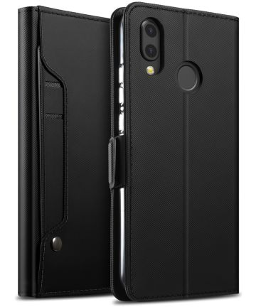 Huawei P20 Lite Luxe Portemonnee Hoesje Met Kaarthouder Zwart Hoesjes