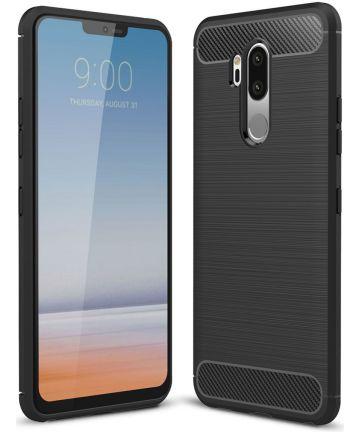 LG G7 Geborsteld TPU Hoesje Zwart Hoesjes