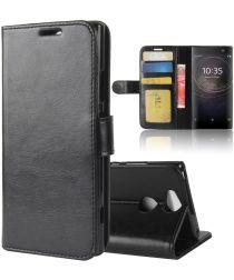 Sony Xperia XA2 Lederen Portemonnee Hoesje Zwart