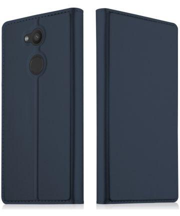 Sony Xperia L2 Flip Hoesje met Kaart Houder Donker blauw