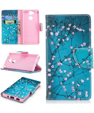 Sony Xperia XA2 Lederen Portemonnee Hoesje met Pink Flowers Print