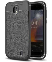 Nokia 1 TPU Hoesje met Kunstleer Coating Zwart