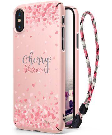 Ringke Design Slim Apple iPhone X Cherry Blossom Peach Pink Hoesjes