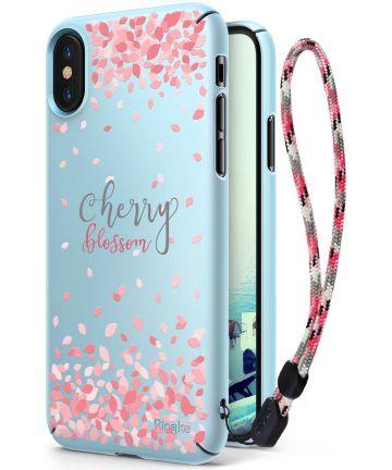 Ringke Design Slim Apple iPhone X Cherry Blossom Sky Blue Hoesjes